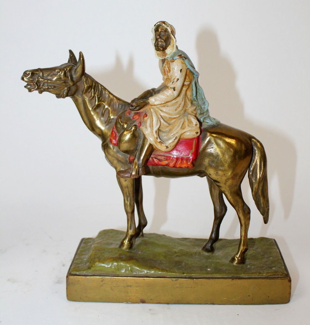 Pair of polychrome Arabian man on horse bookends - 3