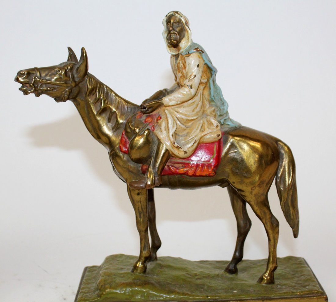 Pair of polychrome Arabian man on horse bookends - 5