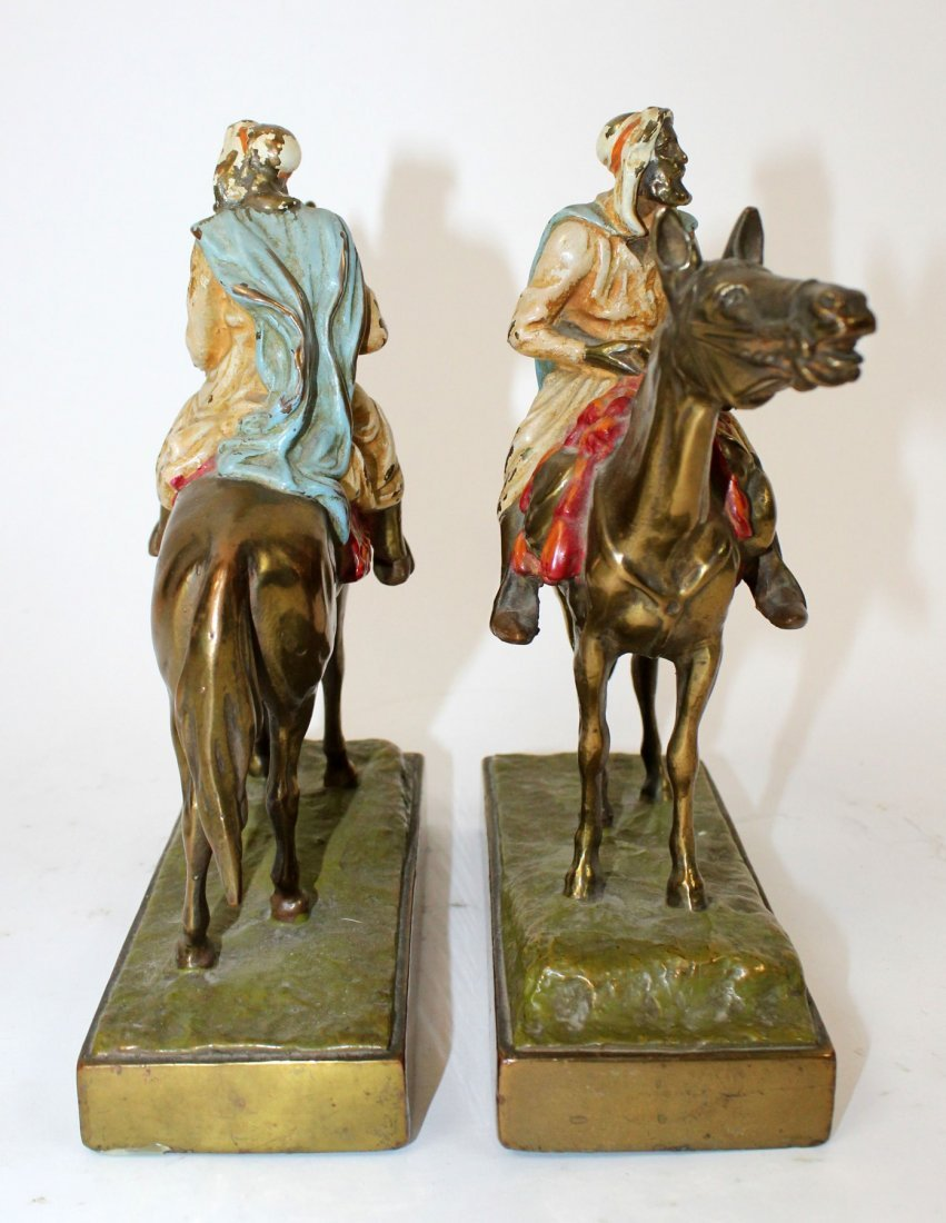 Pair of polychrome Arabian man on horse bookends - 7