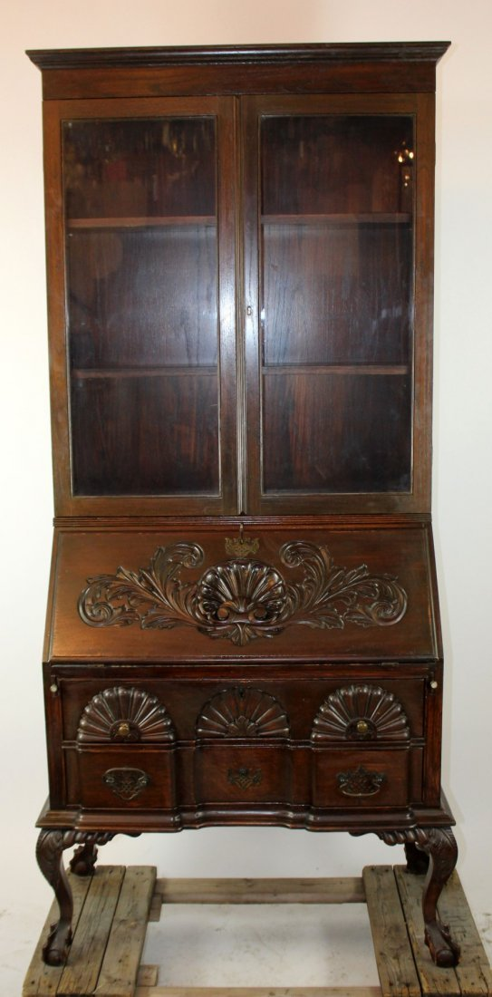 Chippendale style fall front secretary on legs