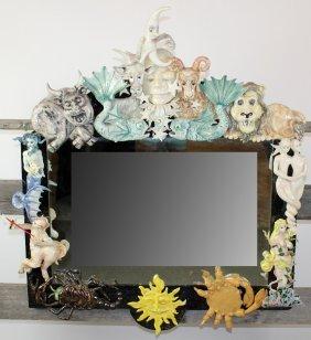 Artisan made ceramic Zodiac mirror