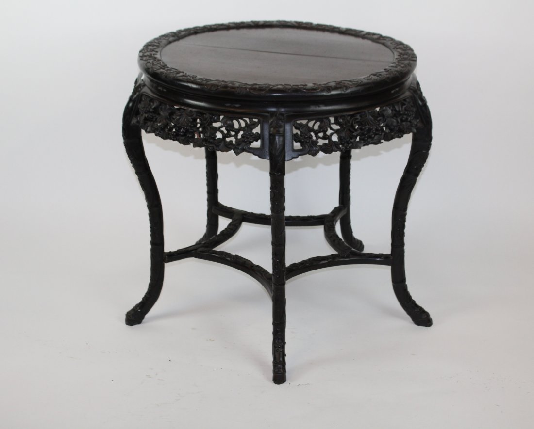 Chinese carved hardwood 5 leg round table