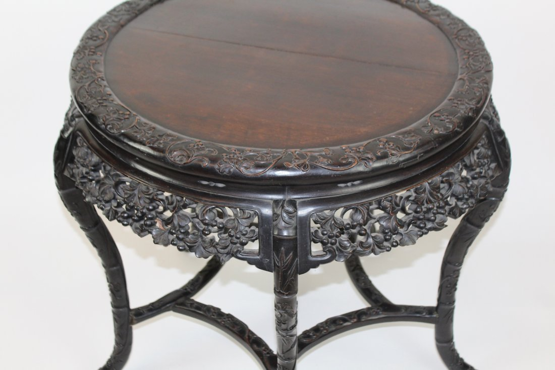 Chinese carved hardwood 5 leg round table - 2