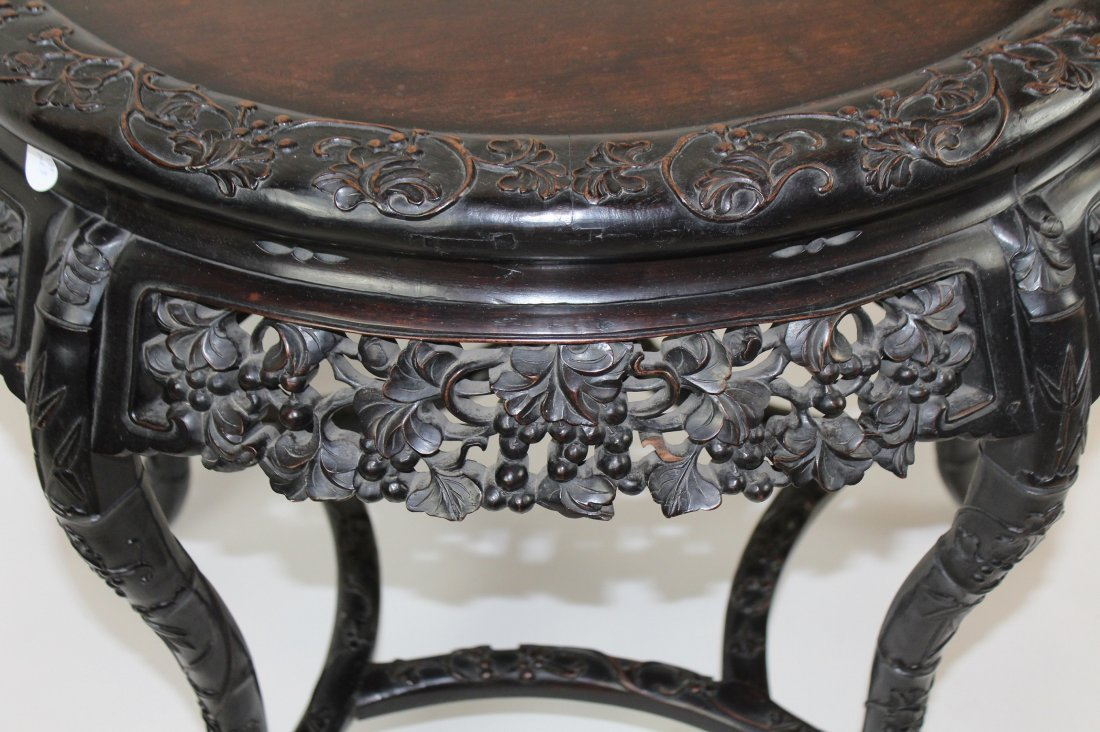 Chinese carved hardwood 5 leg round table - 3