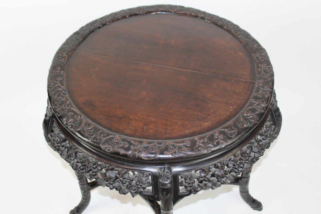Chinese carved hardwood 5 leg round table - 5