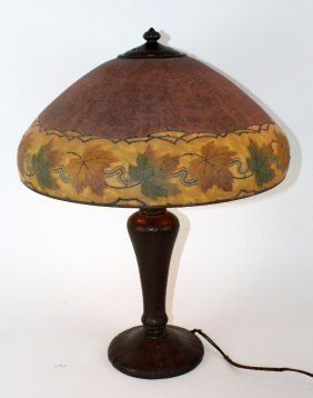 Handel obverse painted and etched table lamp