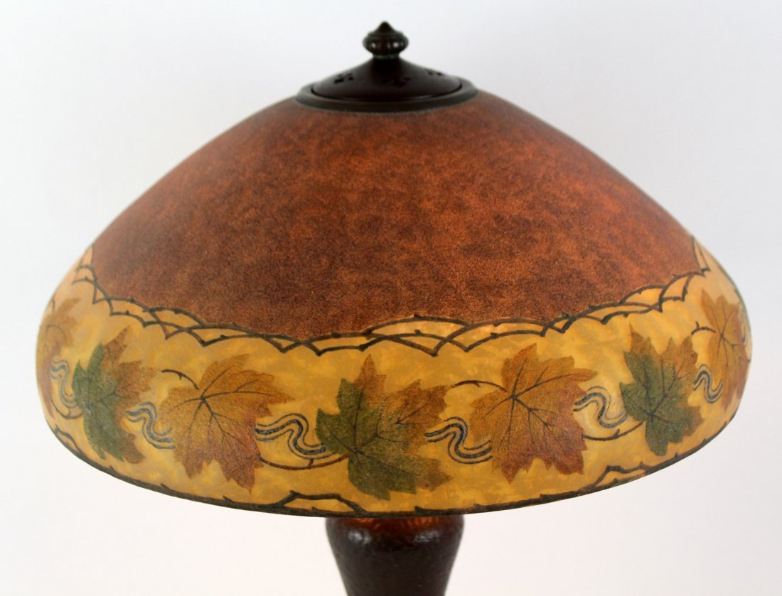 Handel obverse painted and etched table lamp - 2