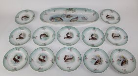 Hand painted porcelain fish plates