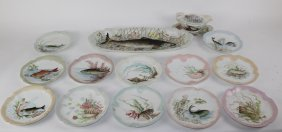 MR Limoges hand painted porcelain fish service