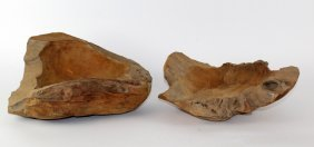 Lot of 2 burled wood naturalistic bowls