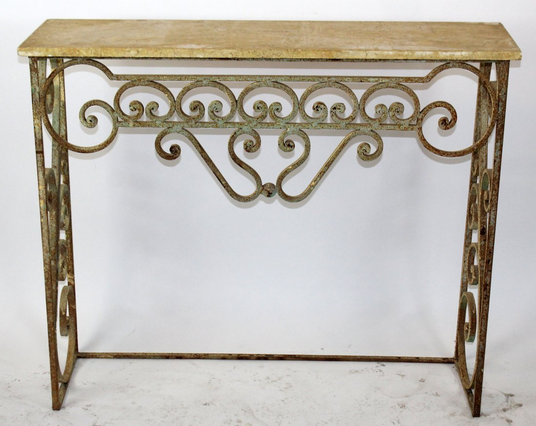 Scrolled iron console with marble top