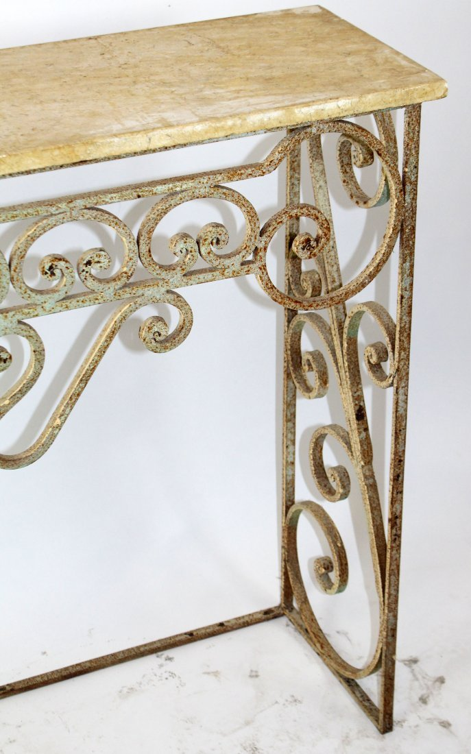 Scrolled iron console with marble top - 2
