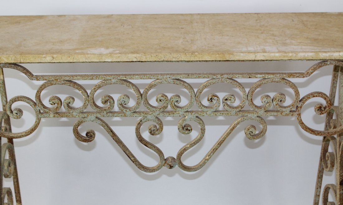Scrolled iron console with marble top - 3