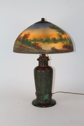 "Handel 16"" reverse painted table lamp"