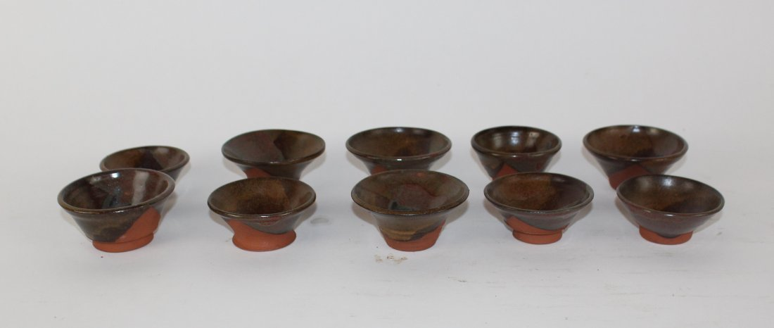 Lot of 10 Chinese glazed terra cotta conical tea bowls - 2
