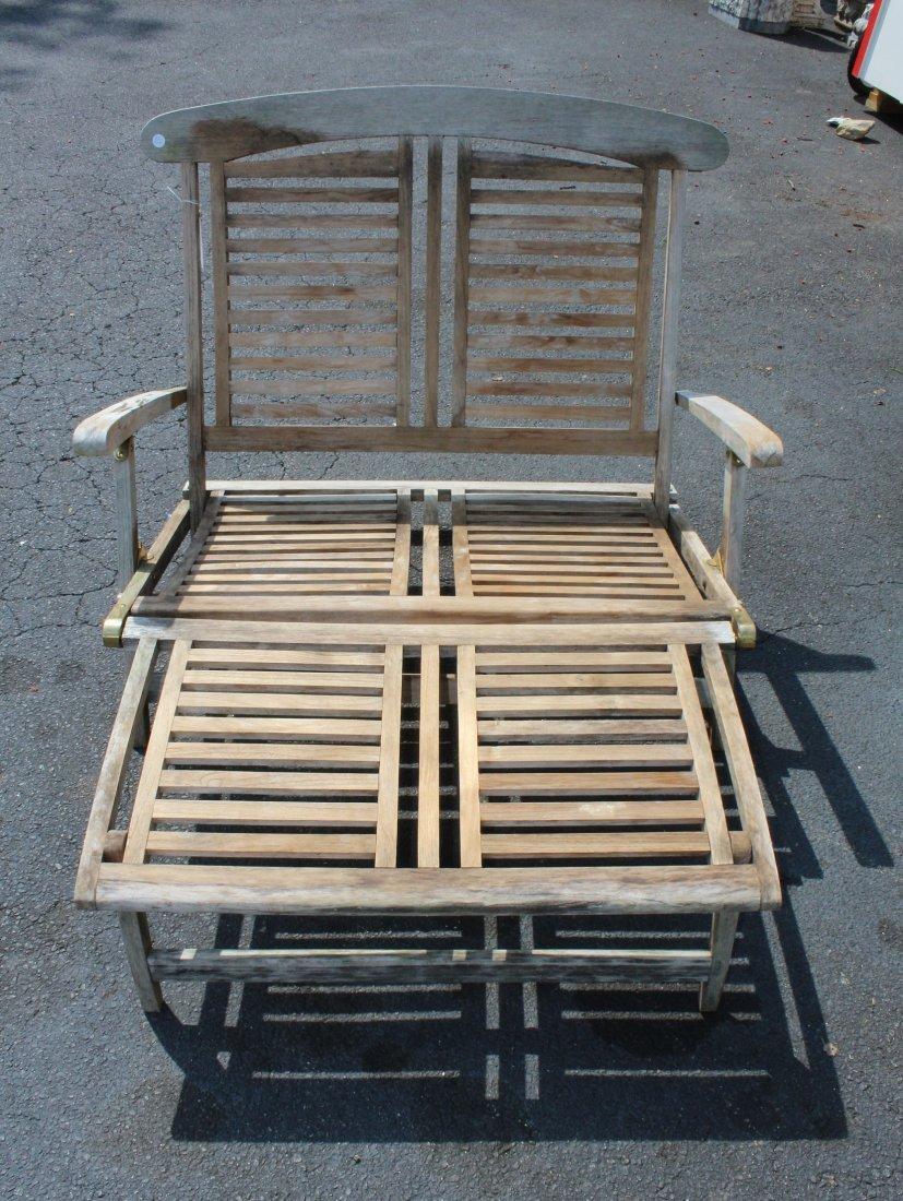 Teak double steamer lounge chair
