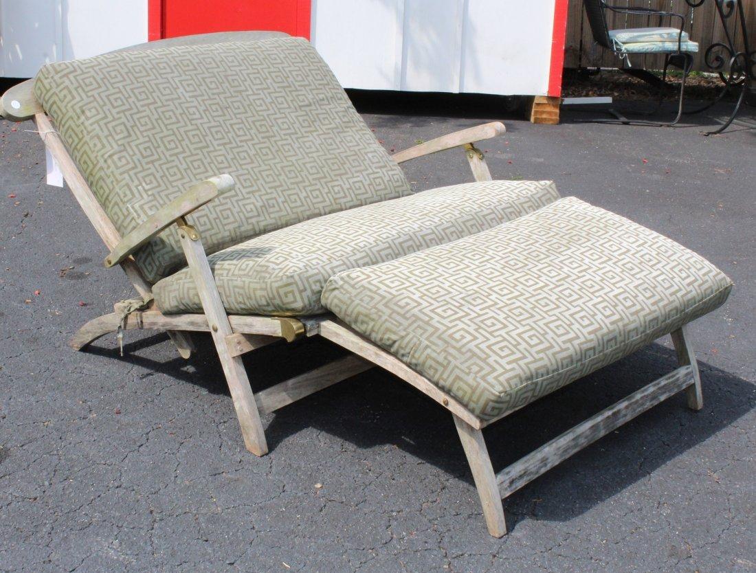 Teak double steamer lounge chair - 2