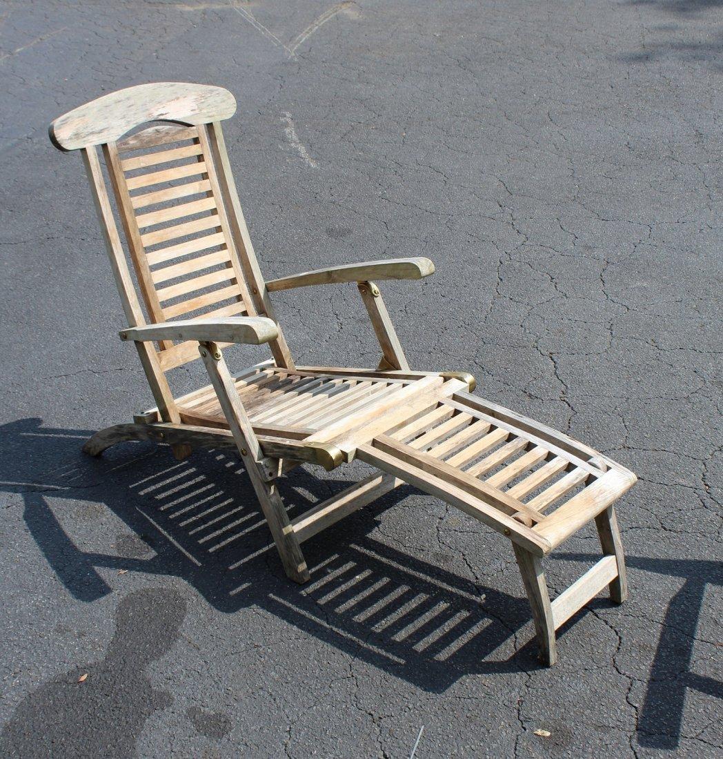 Pair of teak steamer lounge chairs - 2