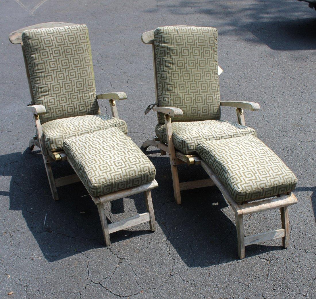 Pair of teak steamer lounge chairs - 3