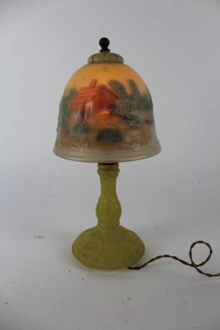 American reverse painted boudoir lamp