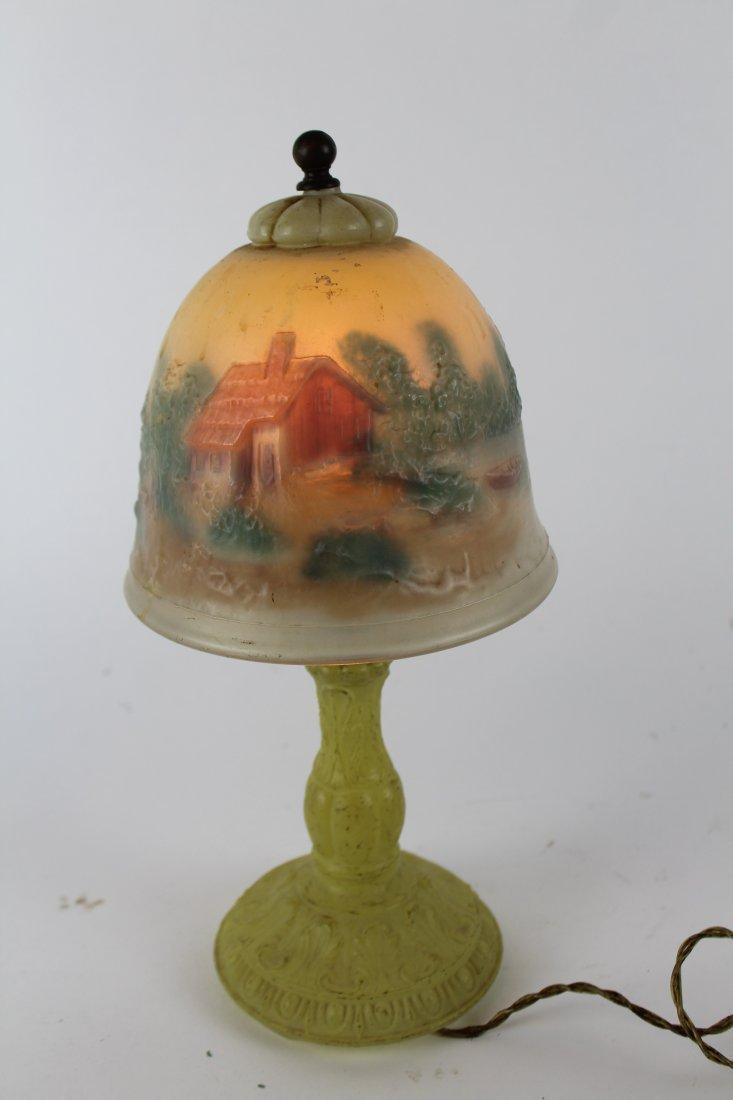 American reverse painted boudoir lamp - 3