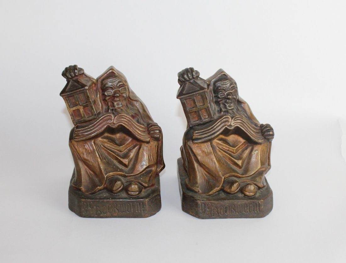 "Pair of vintage FC Plant bronze ""Bookworm"" bookends"