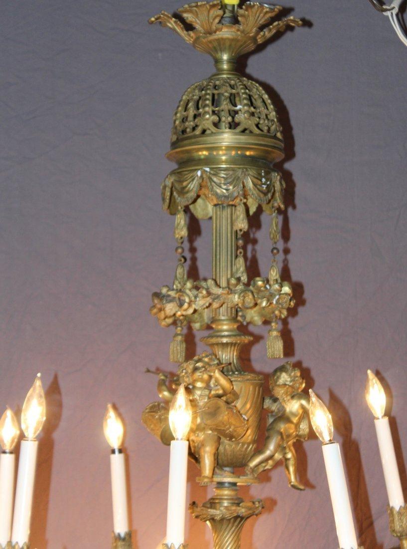 French gilt bronze 24 light chandelier with cherubs - 3