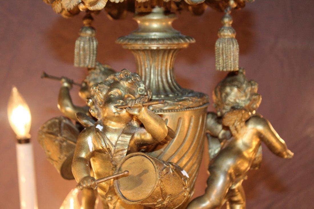 French gilt bronze 24 light chandelier with cherubs - 4