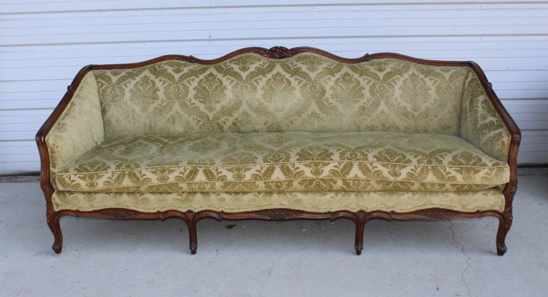 French Louis XV carved walnut sofa