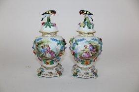 Pair of Dresden porcelain lidded vases