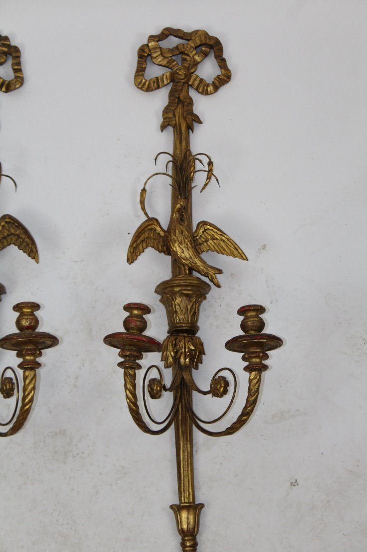 Pair of Italian gilt wood sconces with eagles - 2