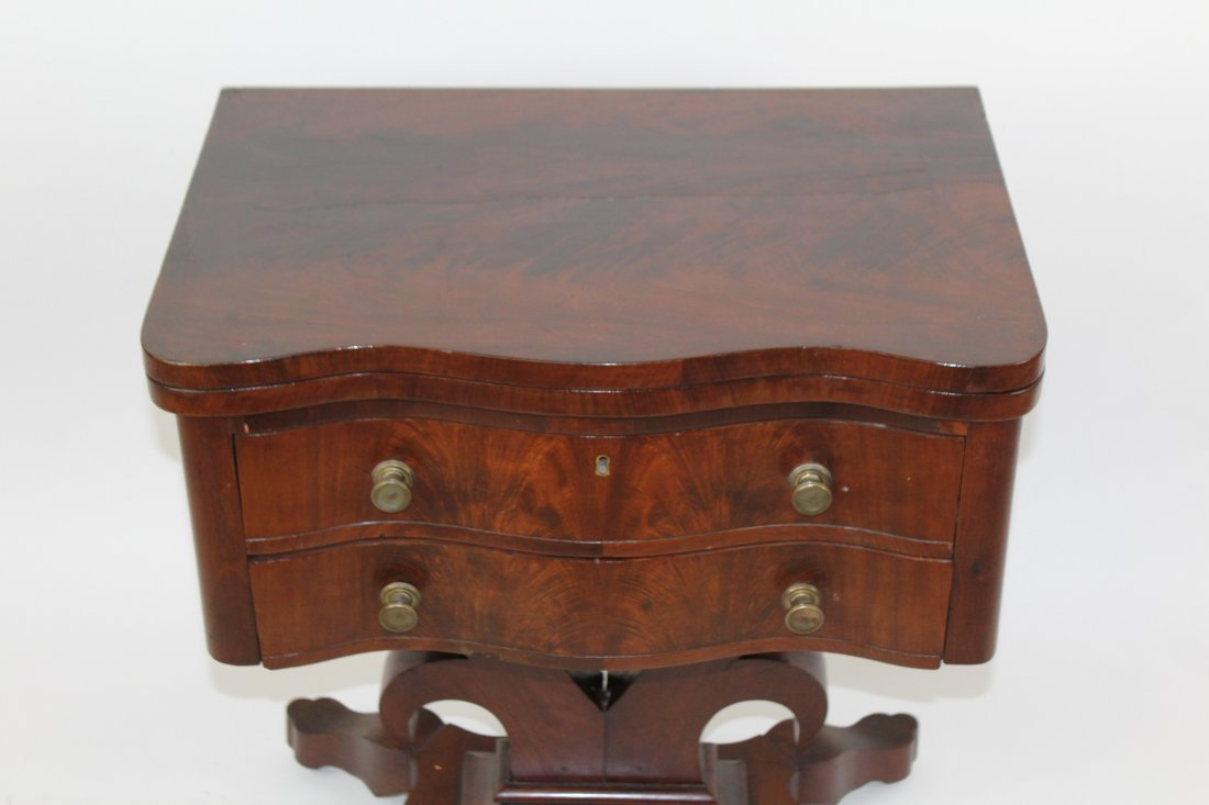 American Empire flame mahogany fliptop game table - 2