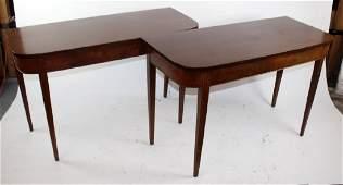 Pair of Sheraton style mahogany consoles