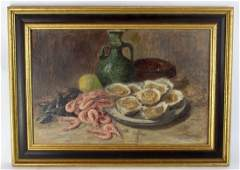 French oil on board still life with oysters