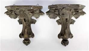 Pair of French Art Nouveau plaster shelves