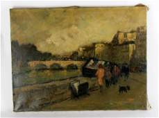 Unframed oil on canvas depicting River Seine
