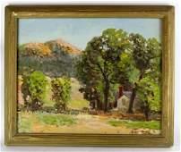 Oil on canvas pastoral landscape.
