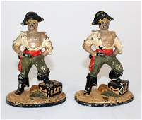 1950's painted cast iron pirate bookends