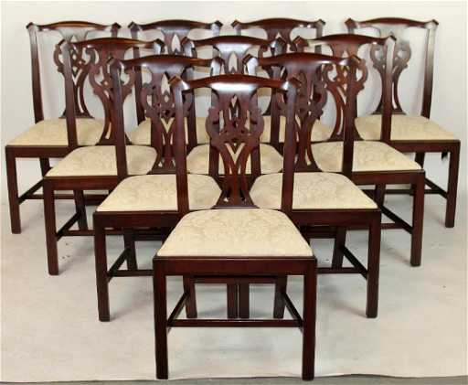 10 Henkel Harris Chippendale Dining Chairs See Sold Price