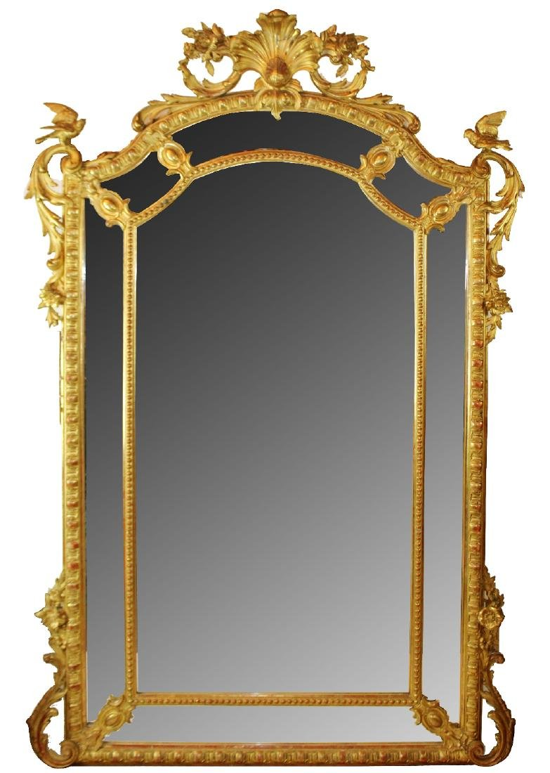 French Louis XV gold leaf mirror with birds