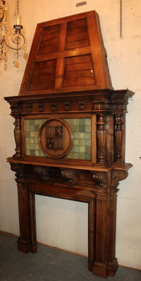 French Fireplace Mantel In Walnut With Armory On Hood