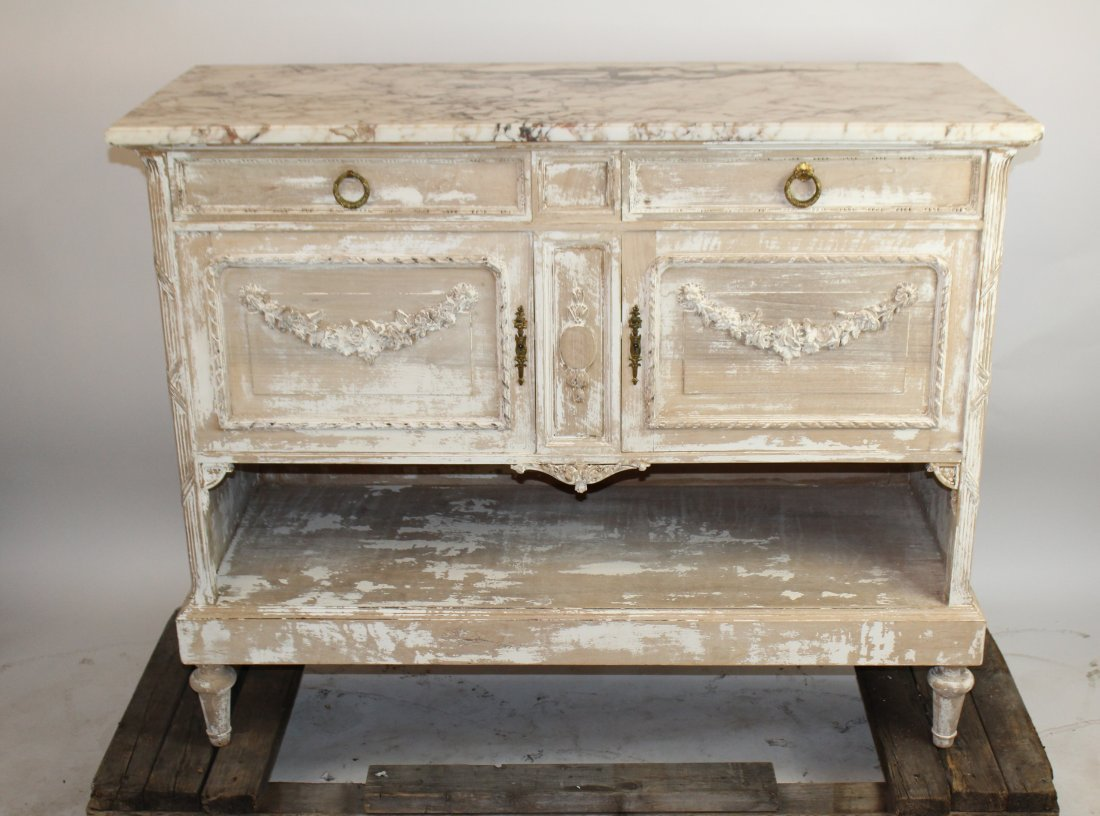 French Louis XVI server with marble top