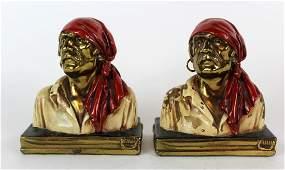 Paul Herzel bronze clad  bookends