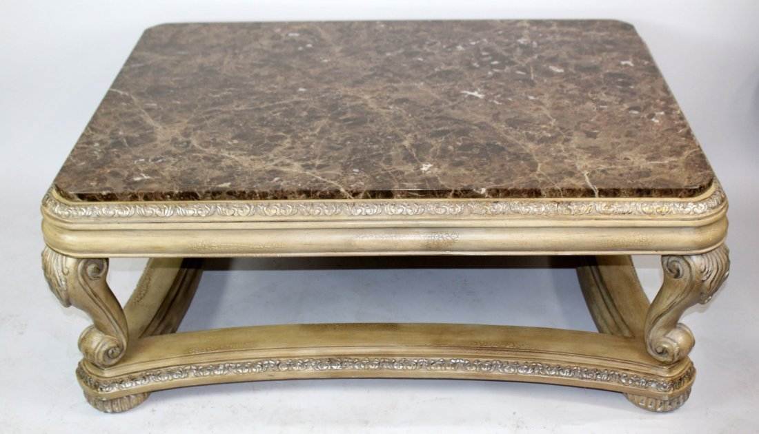 Marble top coffee table with acanthus scroll decoration for Acanthus decoration
