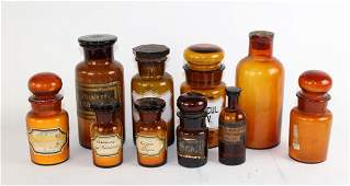 Lot of 10 amber glass apothecary jars