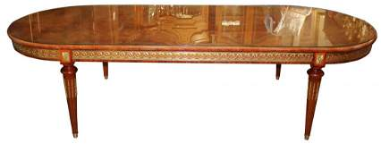 Louis XVI style oval marquetry dining table