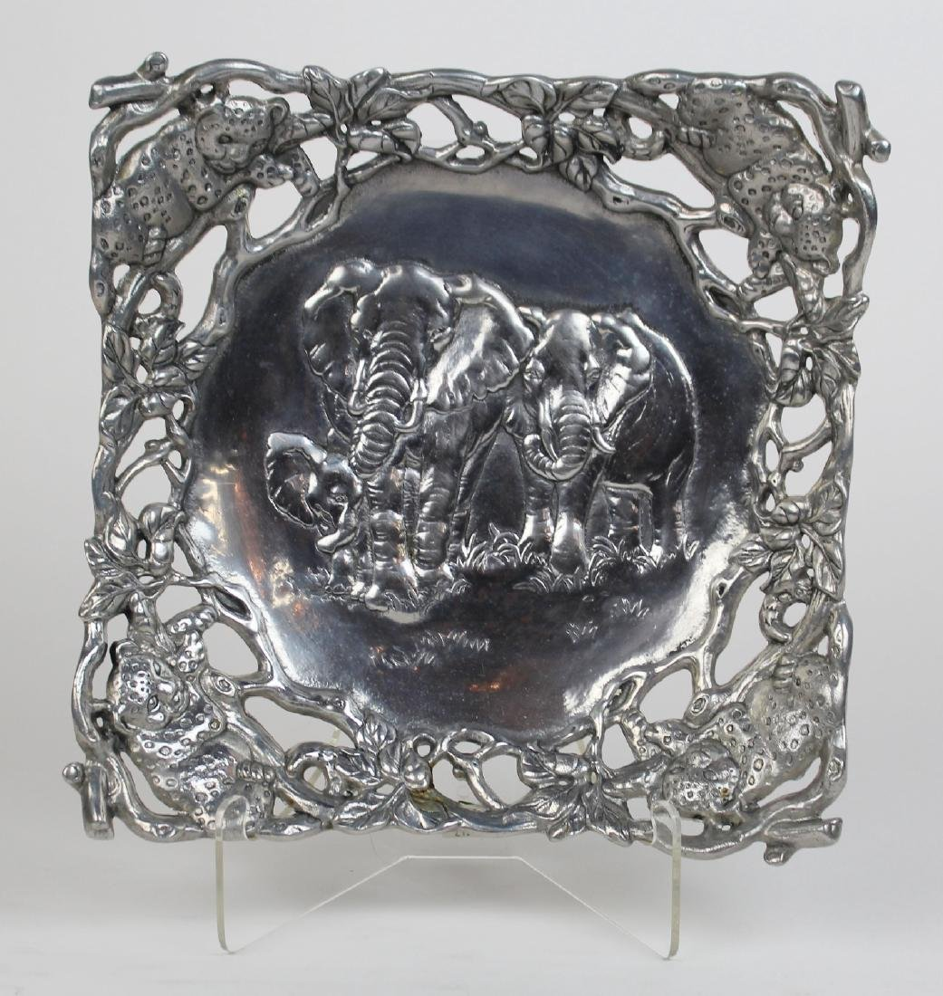 Arthur Court pewter tray with elephants