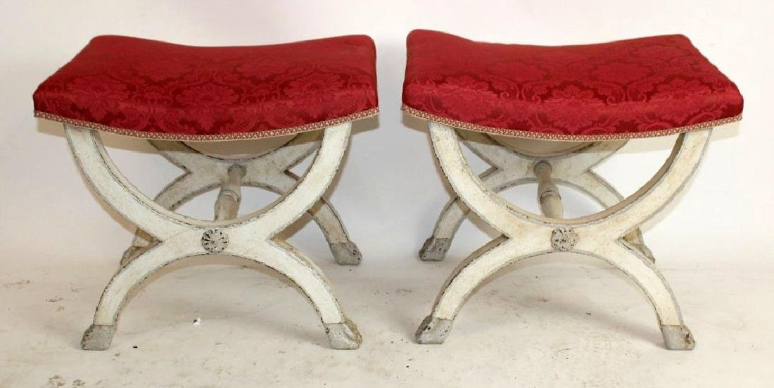 French Louis XVI style painted stools with upholstered