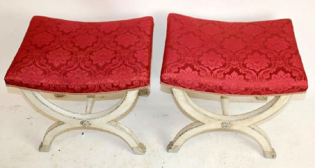French Louis XVI style painted stools with upholstered - 3