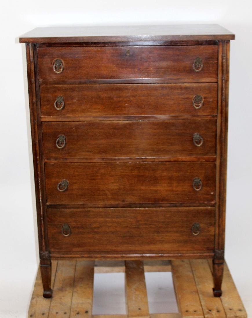 Antique mahogany 5 drawer chest